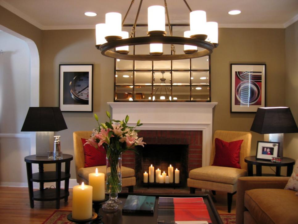 Ideal Room Design With Corner Fireplace alsol Chandelier Plus Chair
