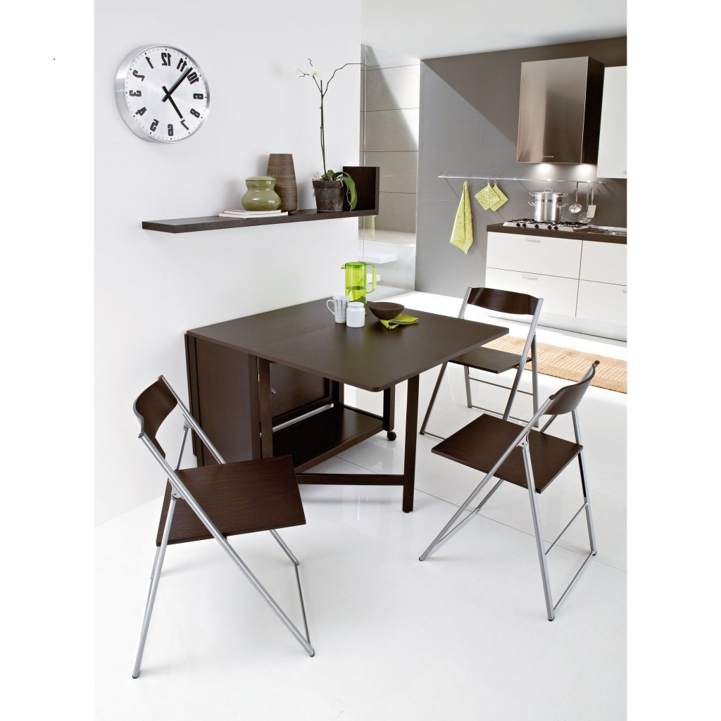 Impressive Furniture Of Foldable Dining Table and Chair plus Mounted Shelve