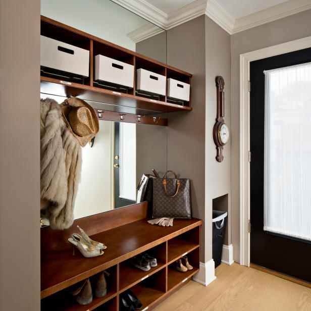Inspiring Closet With Mirror also Shoes Rack Plus Wall Clock