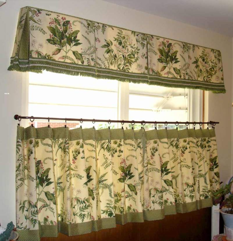 Interesting Fabric Window Curtain Also White Wall Decor For Kitchen Design