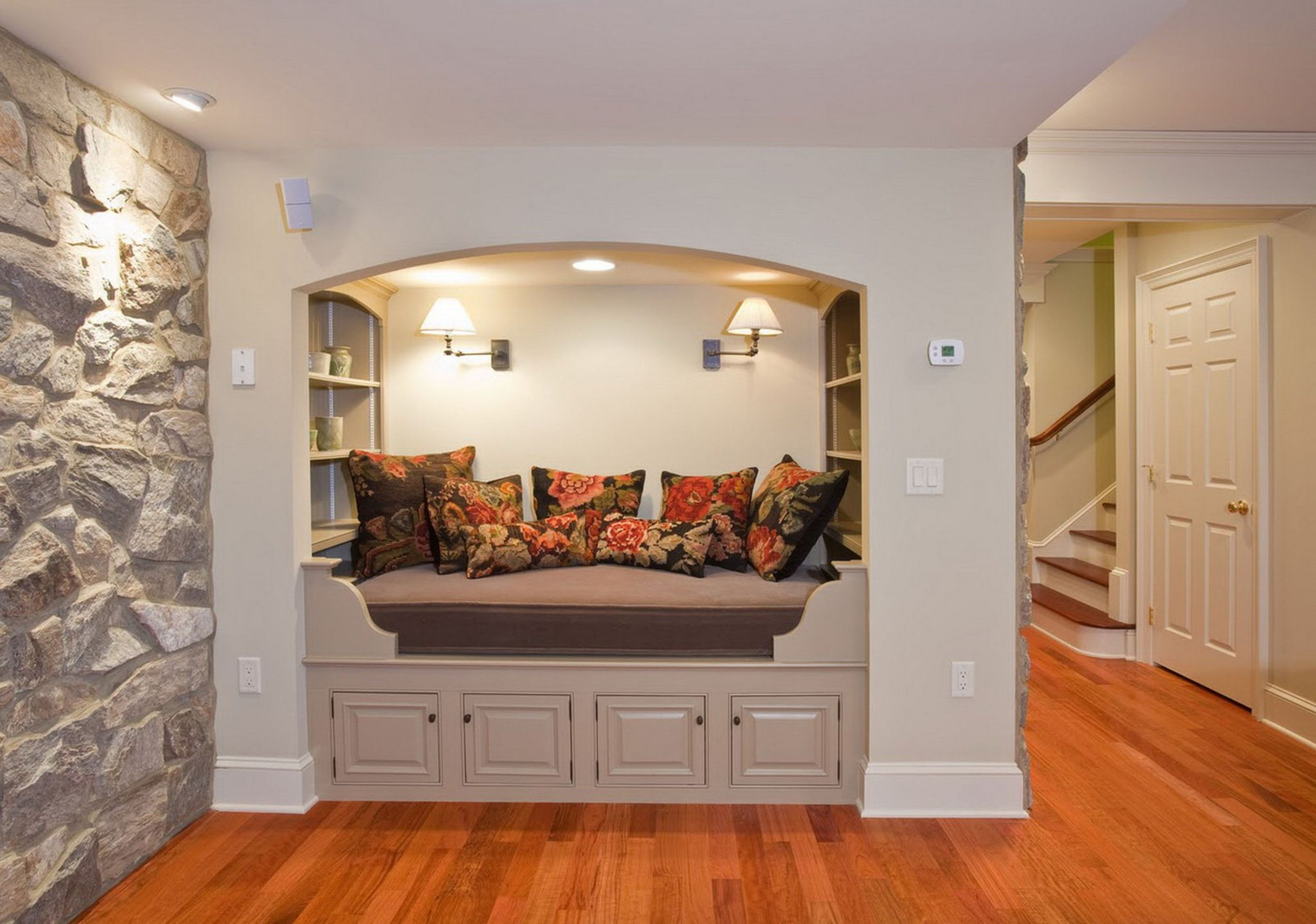 Interesting Wooden Basement Floor Ideas also Charming Bed With Wall Lamps