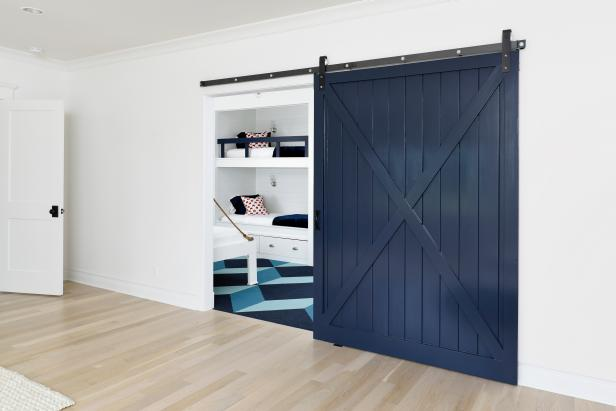 Lovely Bedroom With Bunk Bed also Blue Barn Doors Design