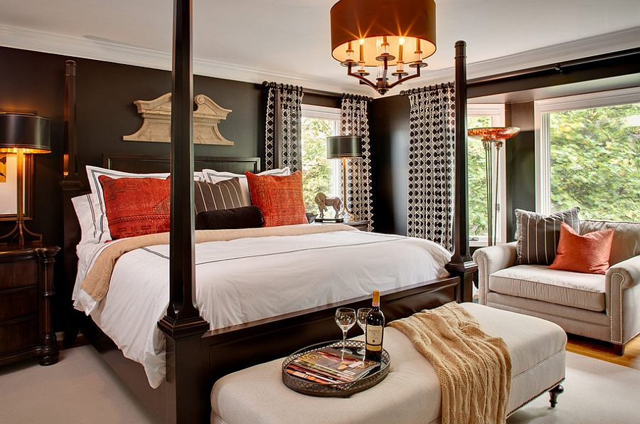 Lovely Interior Simple Bedroom Ideas Using Lavish Bed Under Drum Shade Chandelier