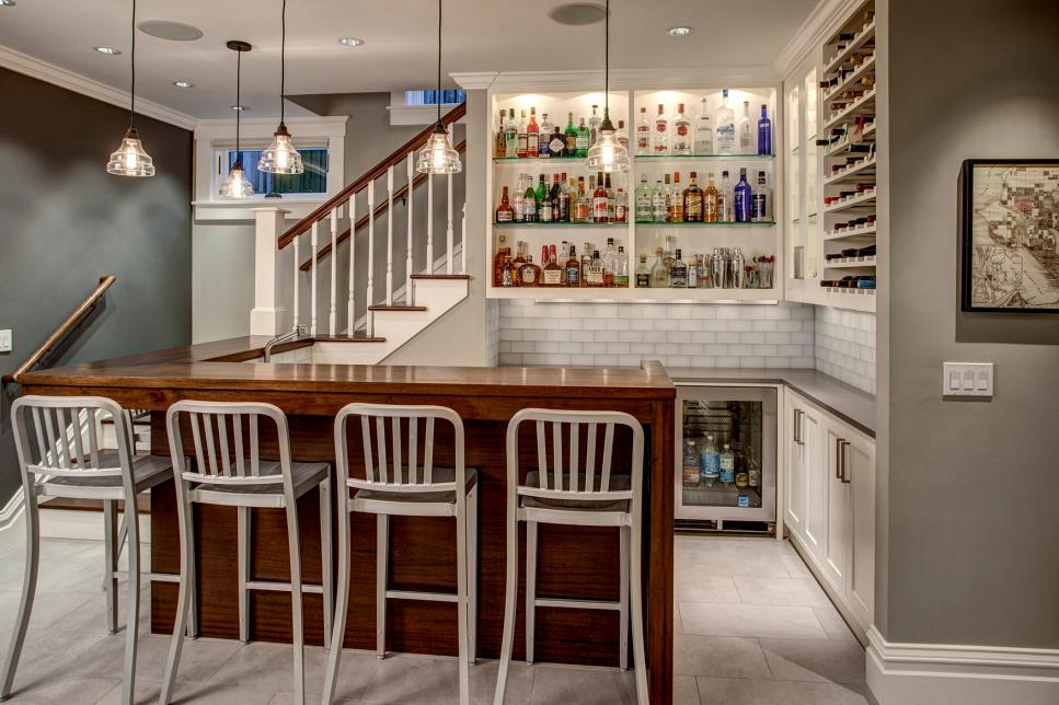 Lovely Kitchen Using Glass Pendant Lighting above L Shaped Bar Table and Chair