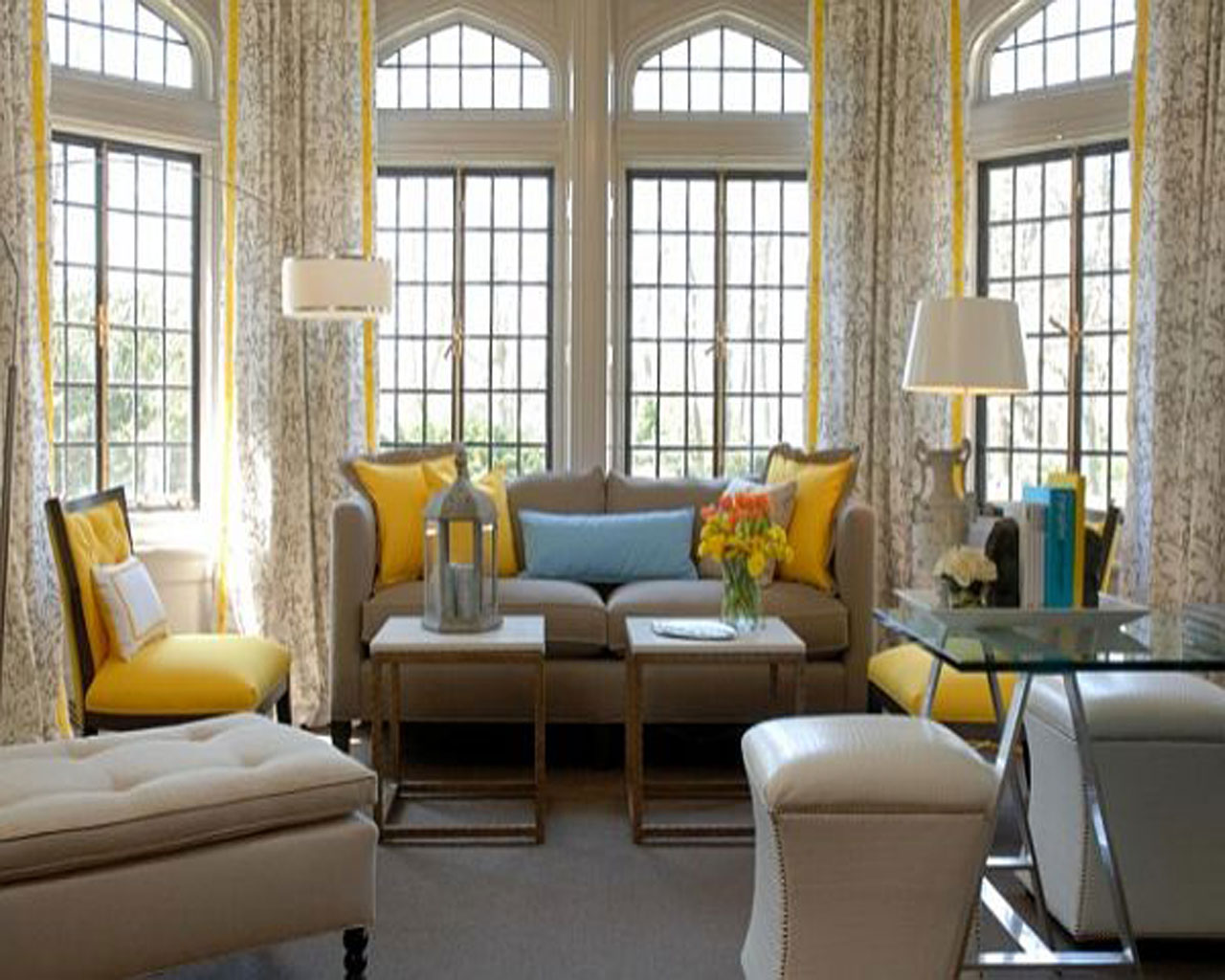 Lovely Style of Living Room Themes With Yellow Accent Of Pillows