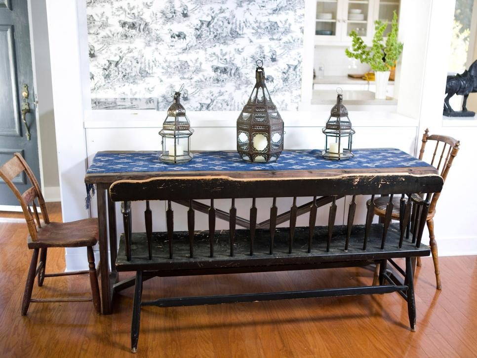 Luring Dining Room Design Using Rectangular Table also Wooden Bench and Chair