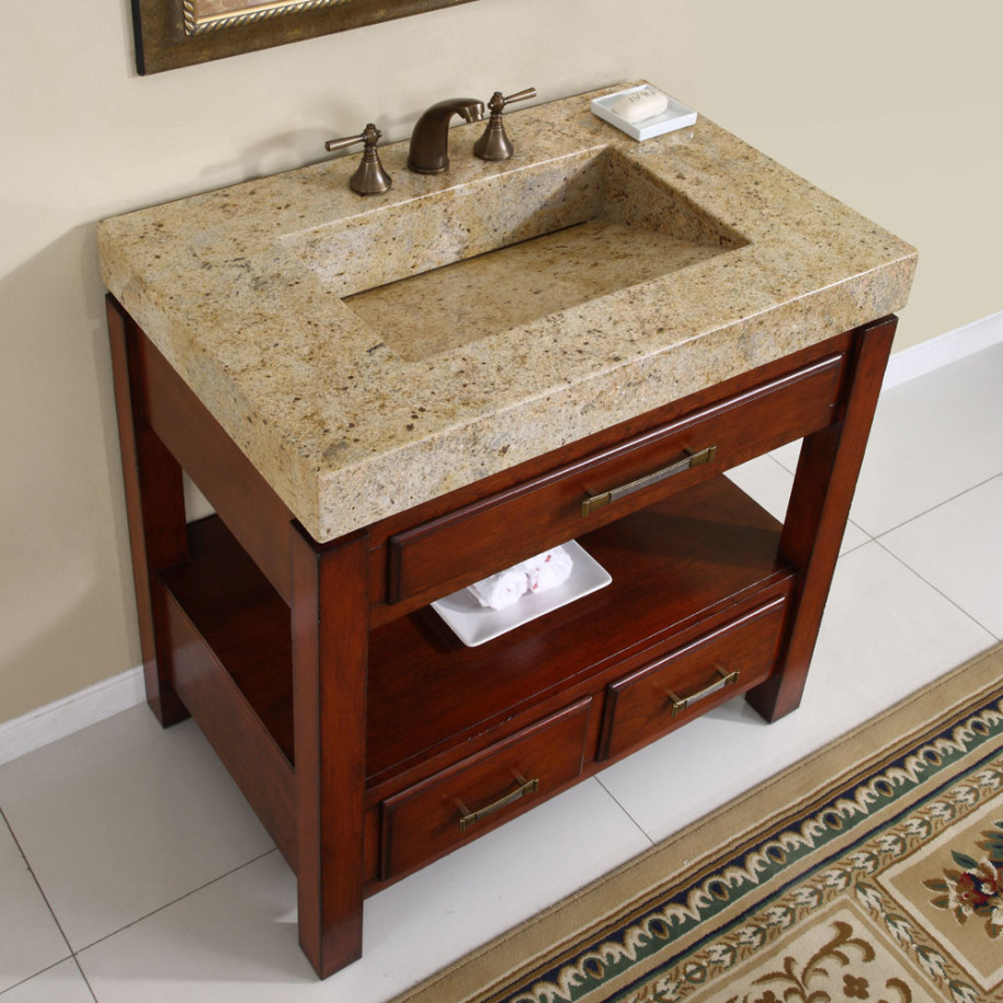 Luxurious Cabinet With Granite Modern Bathroom Sinks and Cute Faucets