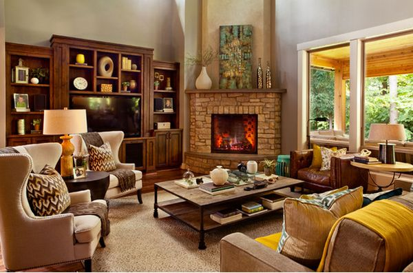 Luxurious Living Room With Corner Fireplace also Shelve Plus Sofa Set
