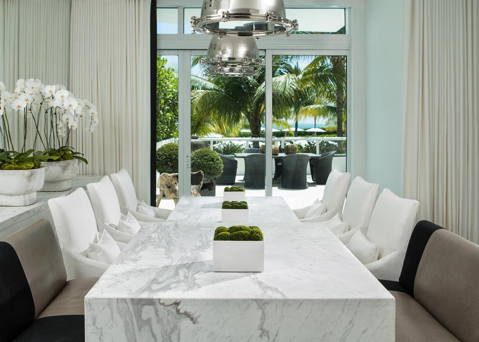 Magnificent Interior Design Using Captivating Marble Dining Table Set Plus Chairs