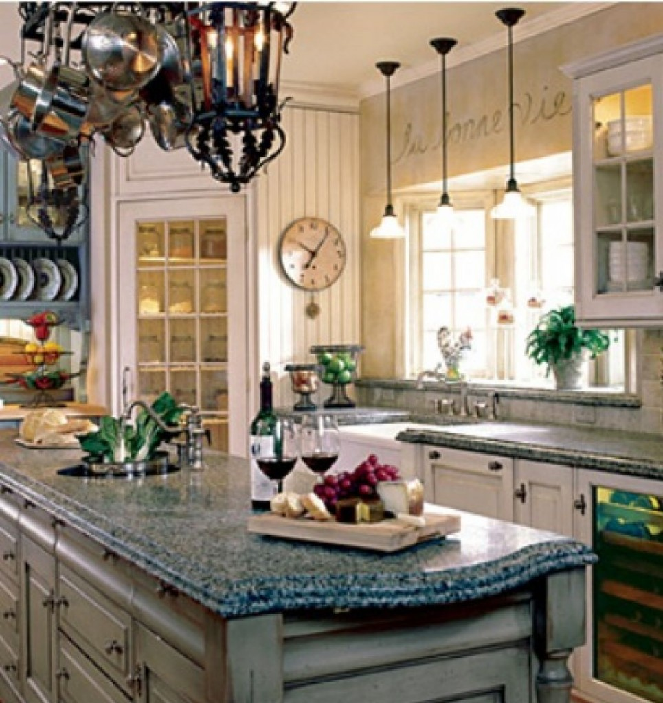 Magnificent Kitchen Decor With Cabinet also Granite Top Plus Lamps