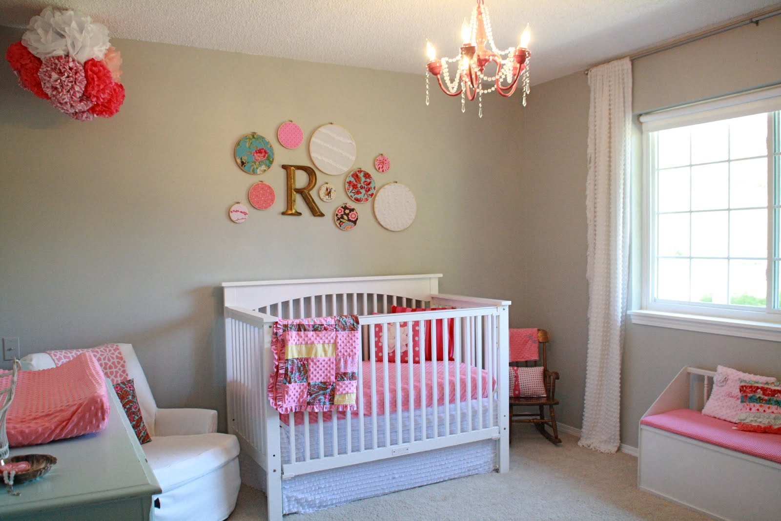 Magnificent Wall Decor also Crib Near Arm Chair To Decorate Girl Nursery Themes