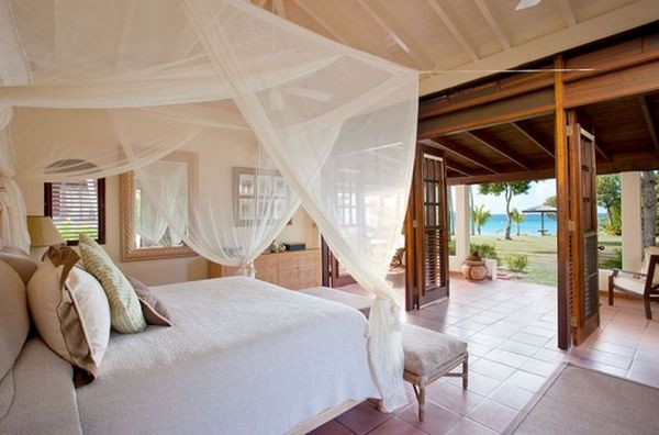 Marvelous Bedroom Using White Mosquito Net also Comfortable Pillows