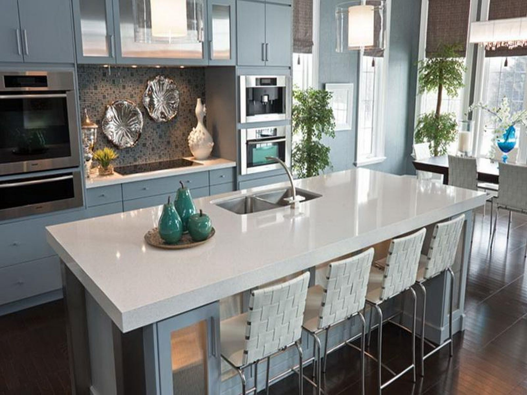 Marvelous Kitchen Decor Using Bar Table and Chair also Induction Stove