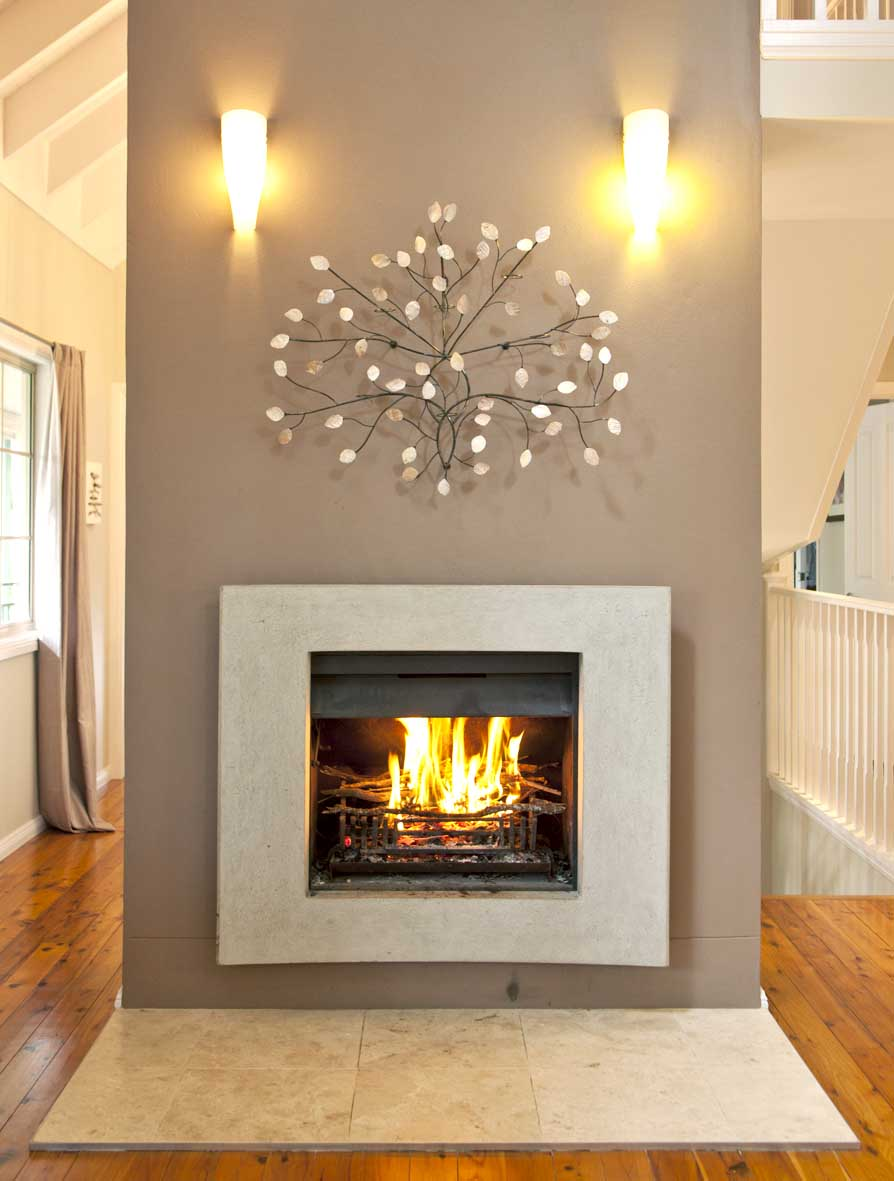 Modern Fireplace Mantel Design also Nice Wall Dedor and Lighting