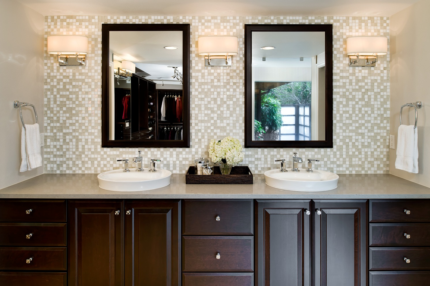 Nervous Backsplash also Wooden Cabinet Plus Mirrors Between Wall Lamps