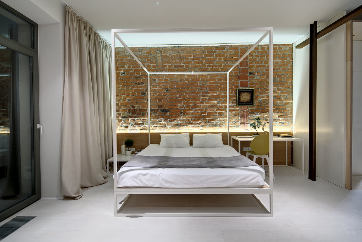 Modern canopy bed ideas - Nervous Brick Wall Background Also Neat Canopy Bed For Great Bedroom