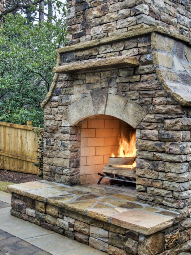 Opulent Outdoor Design Ideas Using Interesting Natural Stone Fireplace Mantel