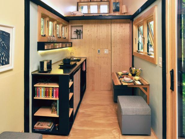 Opulent Room With Foldable Table also Benches Plus Book Shelve
