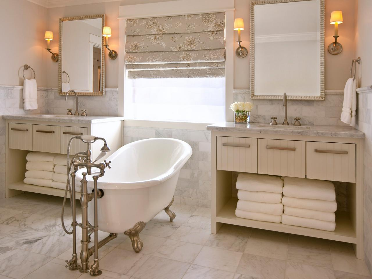 Pleasant Soaking Tub With Faucet Between Minimalist Cabinet For Bathroom Decor