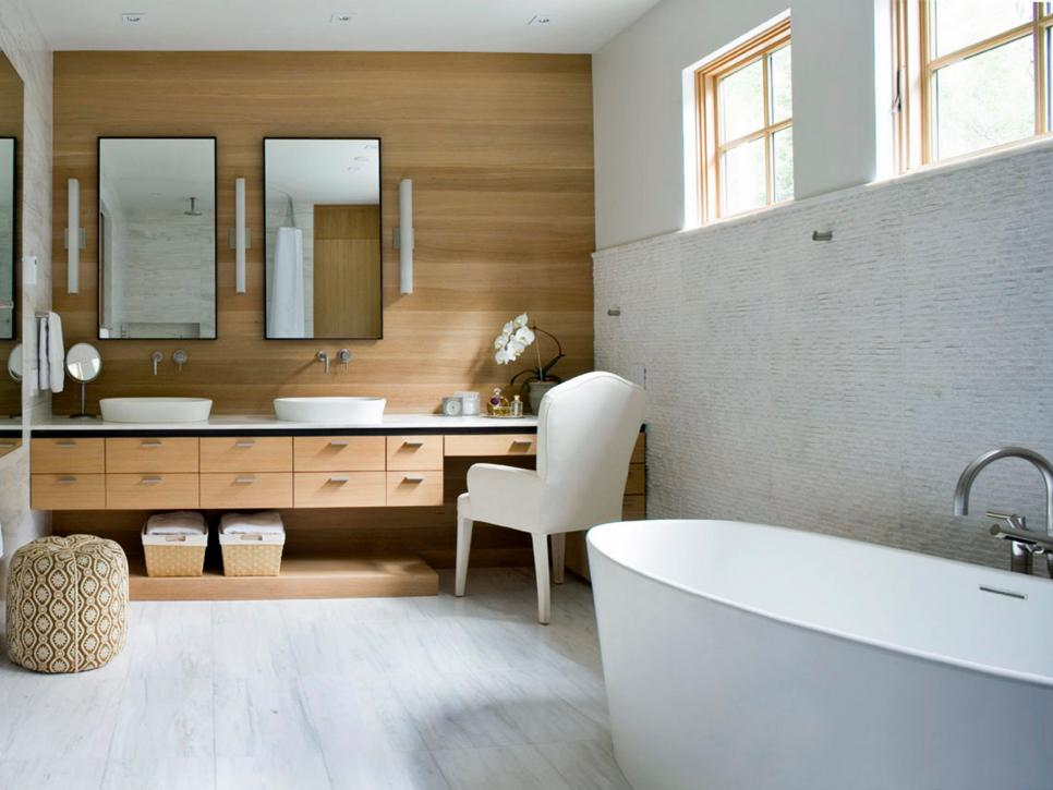Pleasing Bathroom Decor Using Cabinet also Chair Plus White Bathtub