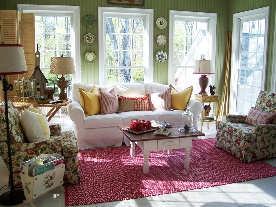 Ravishing Sofa and Flowery Arm Chair For Decorating Country Cottage Decor