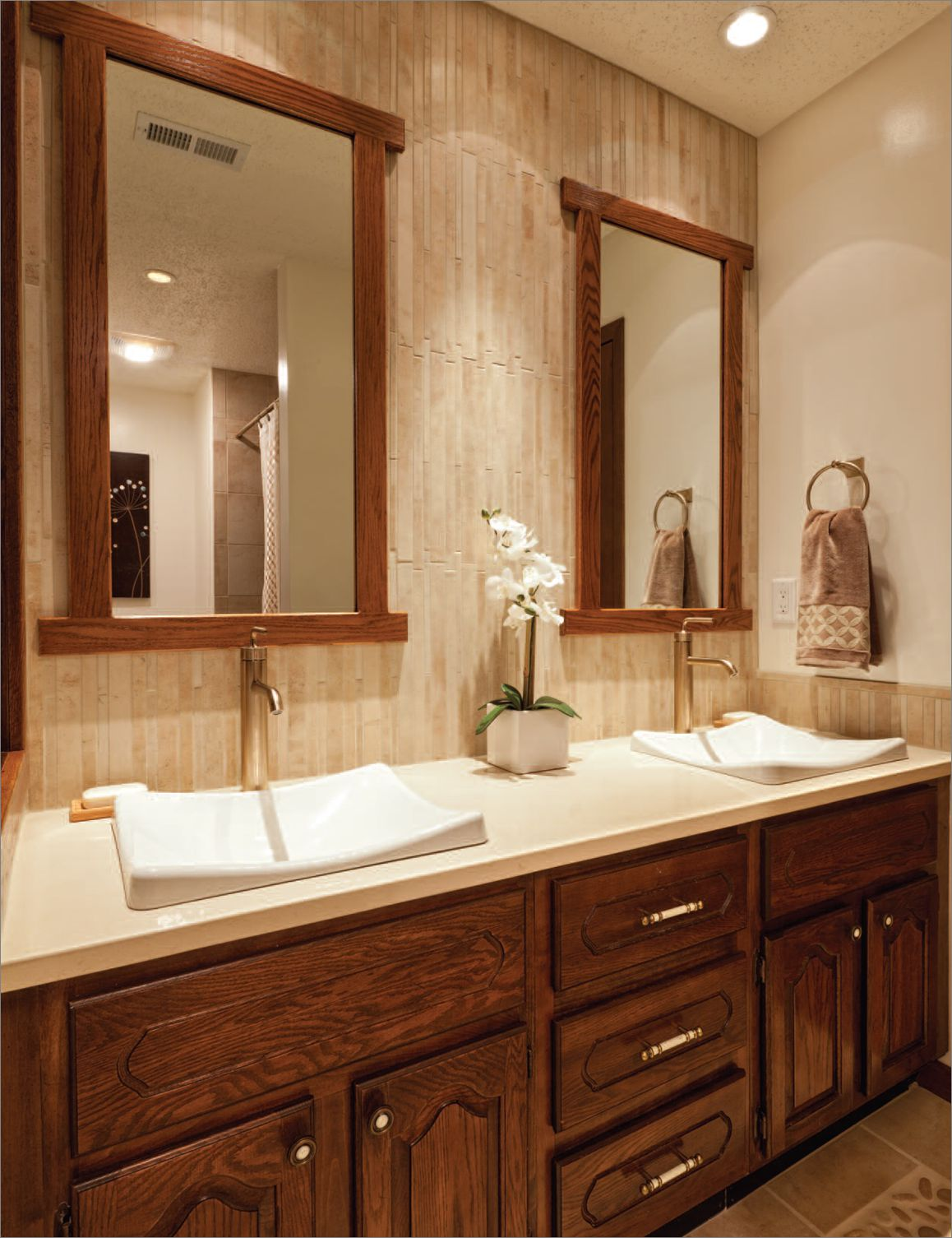 Ravishing Wooden Bathroom Backsplash Ideas also Wooden Cabinet and Mirror Frame