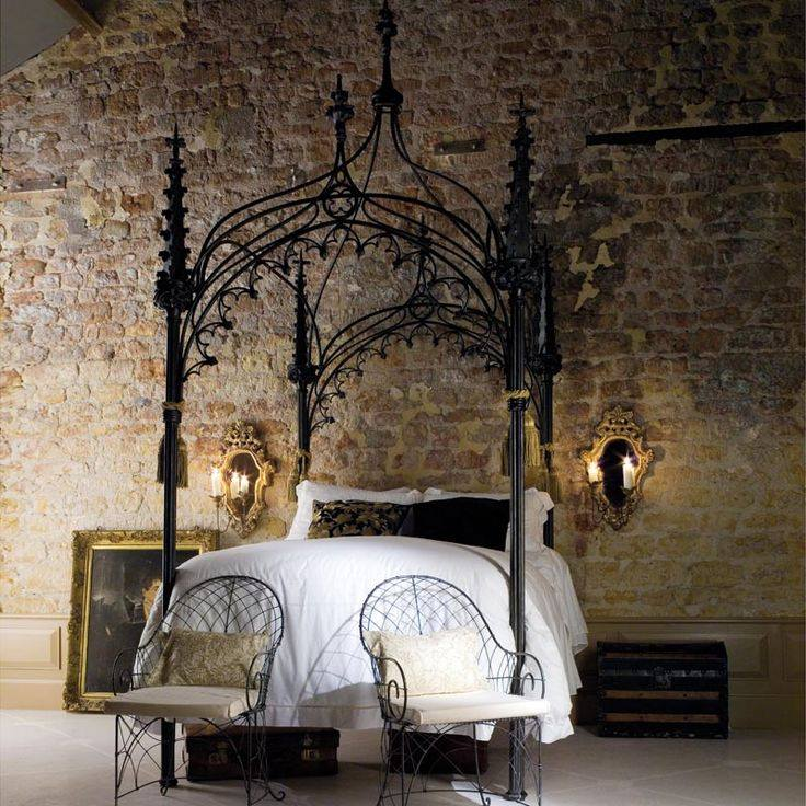Rustic Brick Wall Design also Dark Iron Canopy Bed Between Mirrors