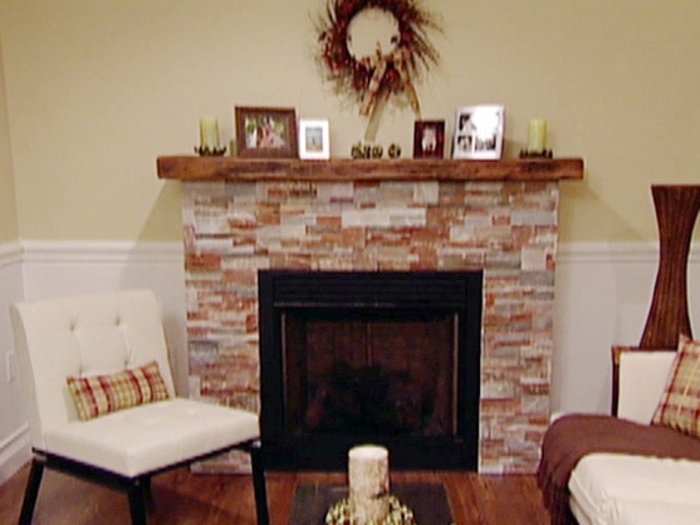 Rustic Stack Stone Fireplace also Wooden Shelve plus Charming Chair
