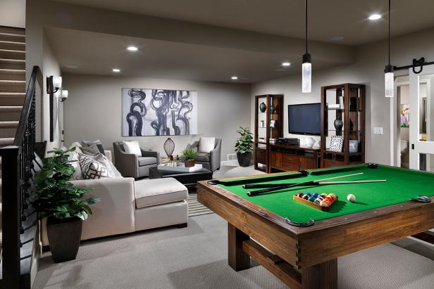 Beau Seductive Basement Design Using Sofa And Modern Pool Tables Under Chandelier