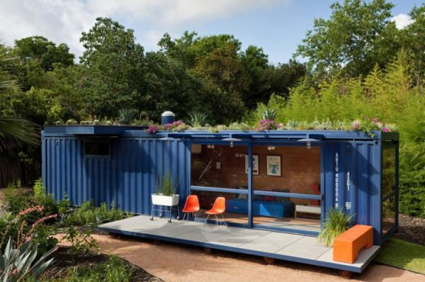 Seductive Exterior Shipping Container House With Blue Wall Paint Design