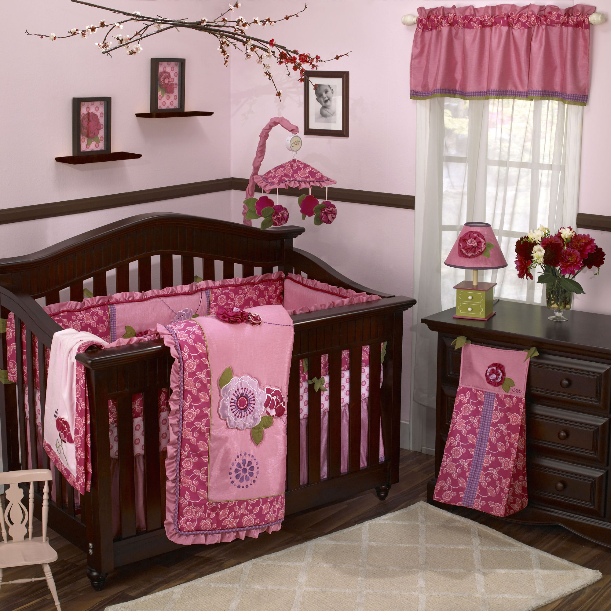 Genial Seductive Wooden Crib Also Dresser Plus Pink Accent For Girl Nursery Room