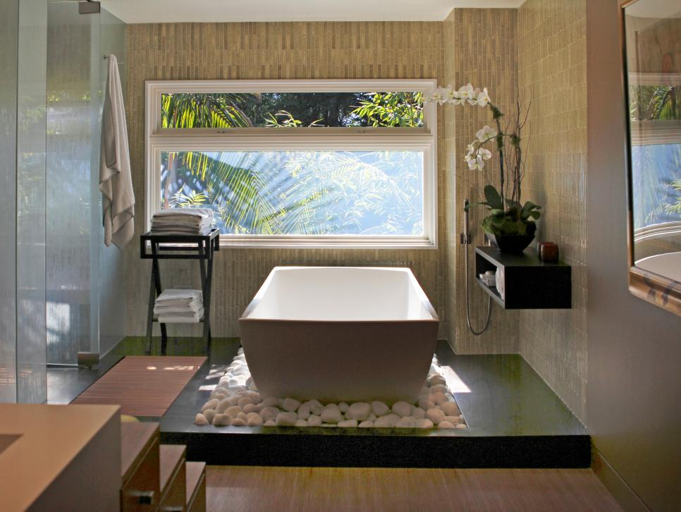 Small Bathroom Using Two Person Bathtub also Natural Lighting Fixture