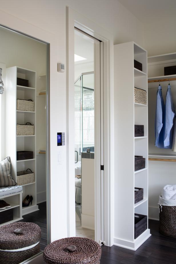 Stunning Closet Using Mirror also High Rack Plus Hanging Clothes