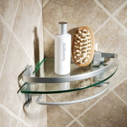 Stylish Bathroom Corner Shelf With Tempered Glass Top and Steel Frames