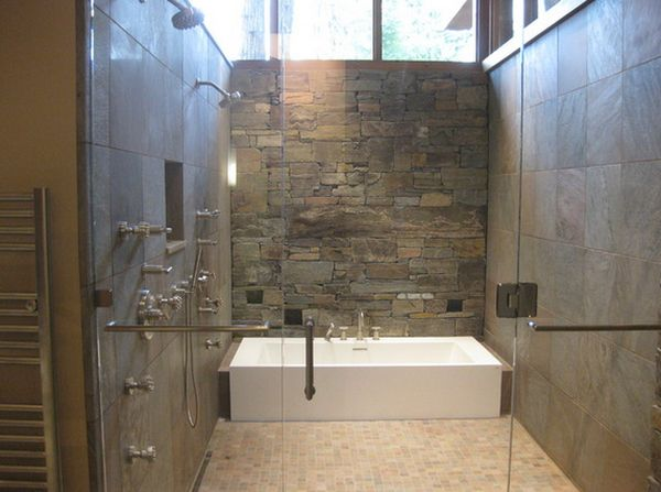Stylish Shower Remodel Ideas With Stone Wall also Rectangular Bathtub