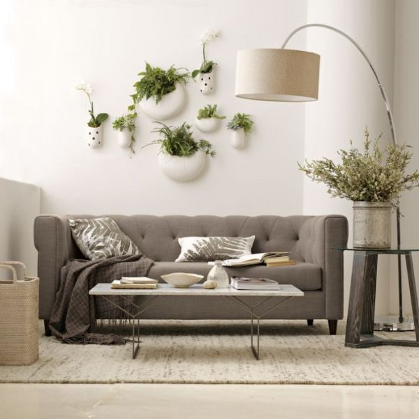 Sumptuous Wall Planters also Lush Sofa and White Table For DEcorating Living Room