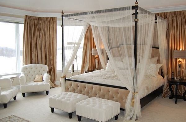 Taking Bed Using Iron Canopy also White Mosquito Net Decor