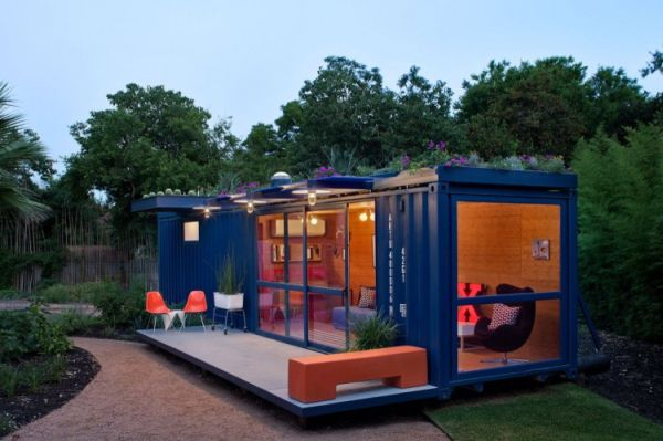 Tantalizing Desk Shipping Container House With Orange Chair Decor