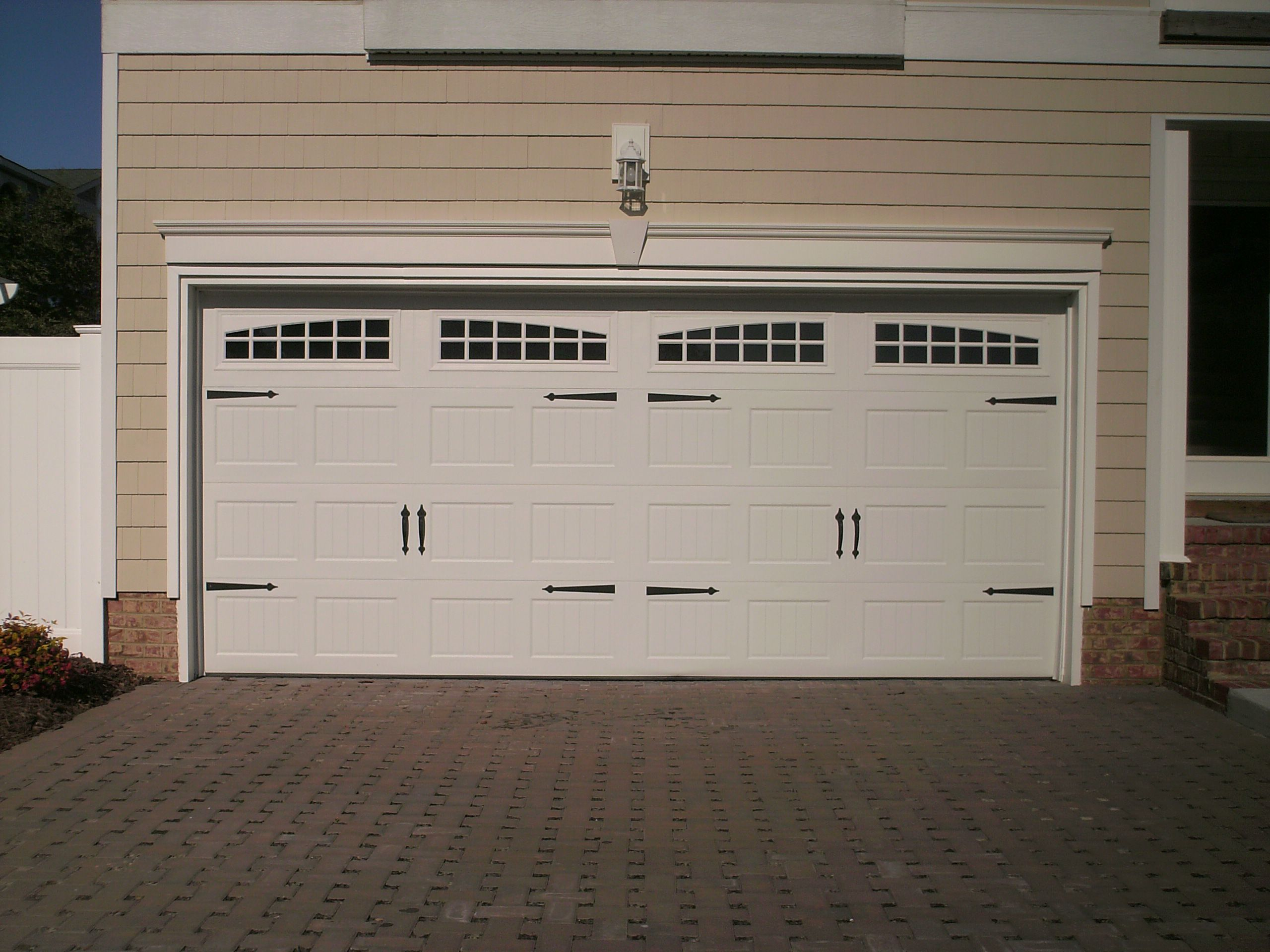 Winsome Exterior HOuse With White Wooden Garage Door Style Ideas