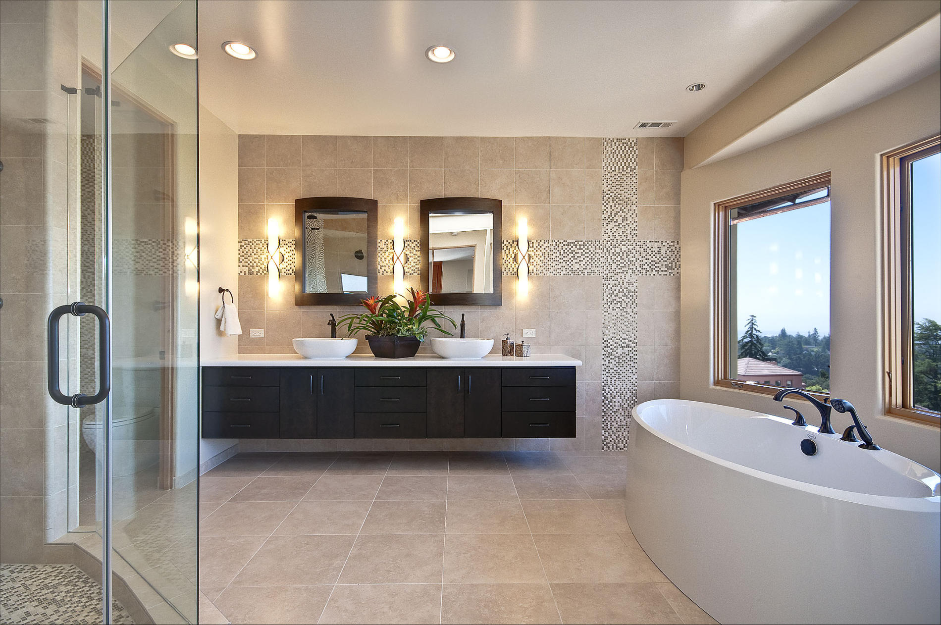 Wonderful Interior Master Bathroom Using Built In Lamp Also Hanging  Cabinet. Another Reasons Why You Should Be Planning Layouts ... Pictures Gallery