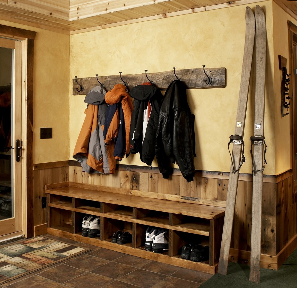 Wonderful Room Design Using Wall Hook For Jacket above Shoes Rack