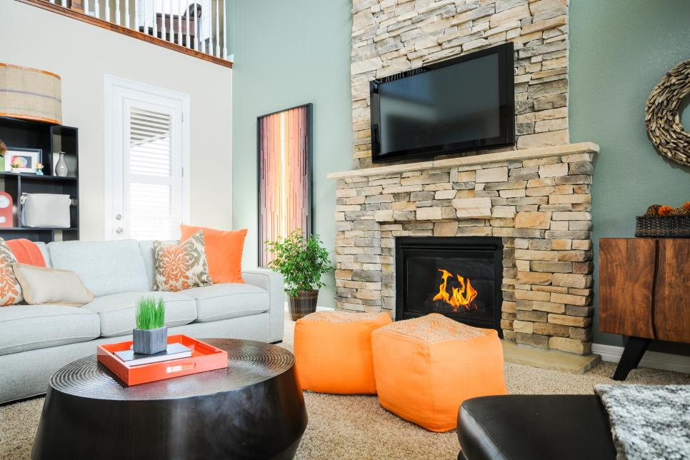 Wonderful Sofa also Black Coffee Table Plus Orange Benches again Fireplace