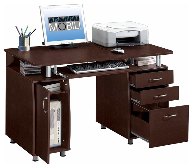Wonderful Style Of Computer Desk With Drawers also Keyboard and CPU Storage