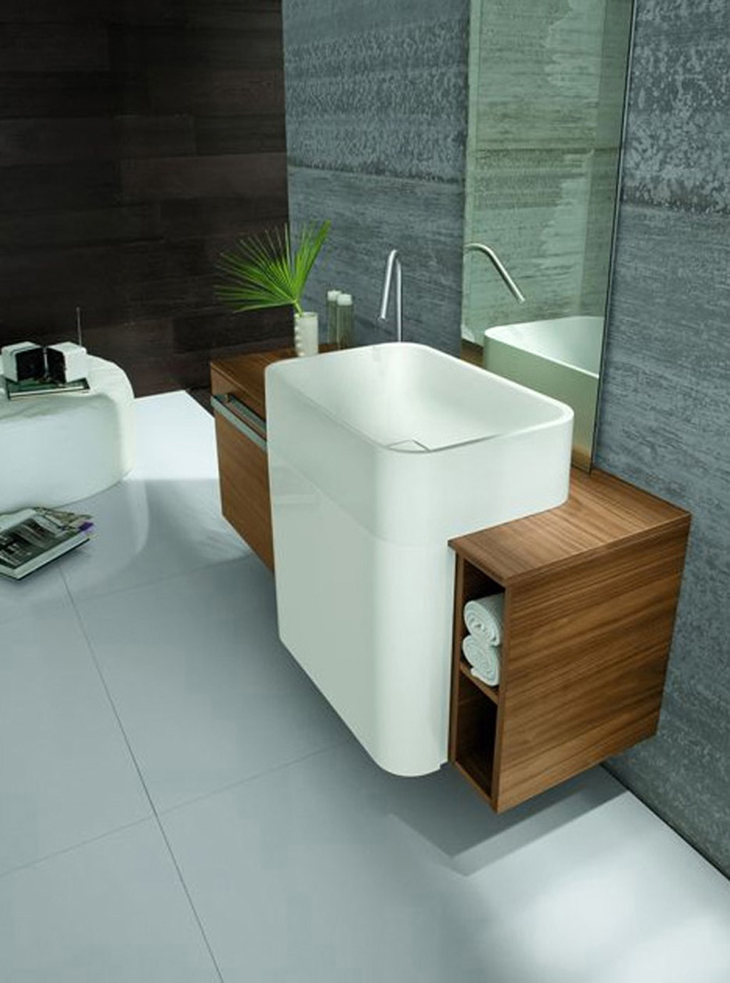 Wondrous Wooden Cabinet With Modern Sink and Stainless Steel Faucet Plus mirror