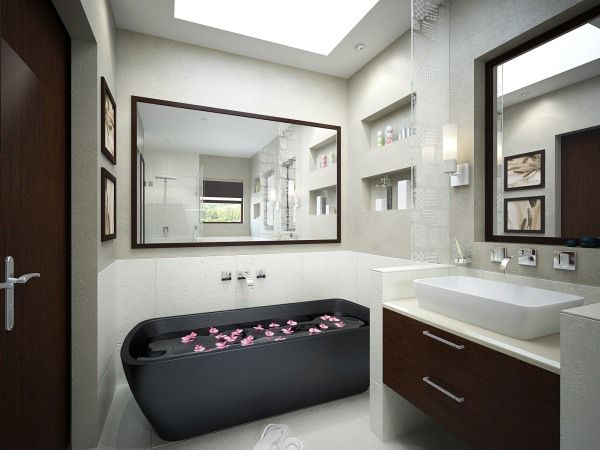 Admirable Bathroom Theme Ideas Using Black Bathtub also Hanging Vanity