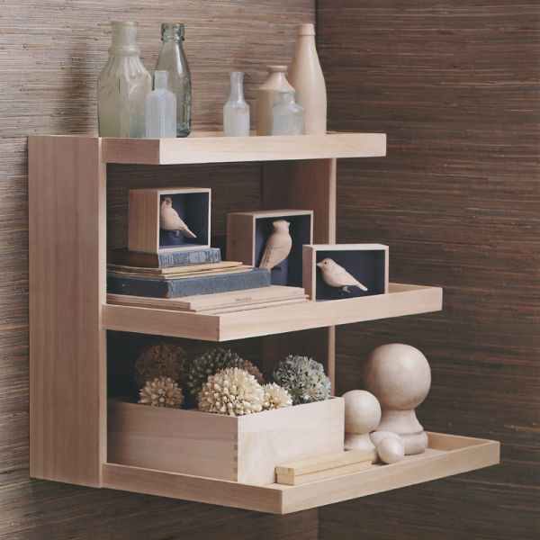 Alluring Design Of Wooden Mounted Shelf On Wall For Accessories