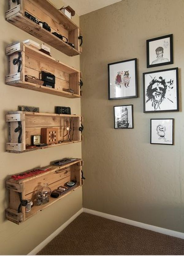 Attractive Room Design Ideas Using Wooden Wall Mounted Shelf and Photo Display