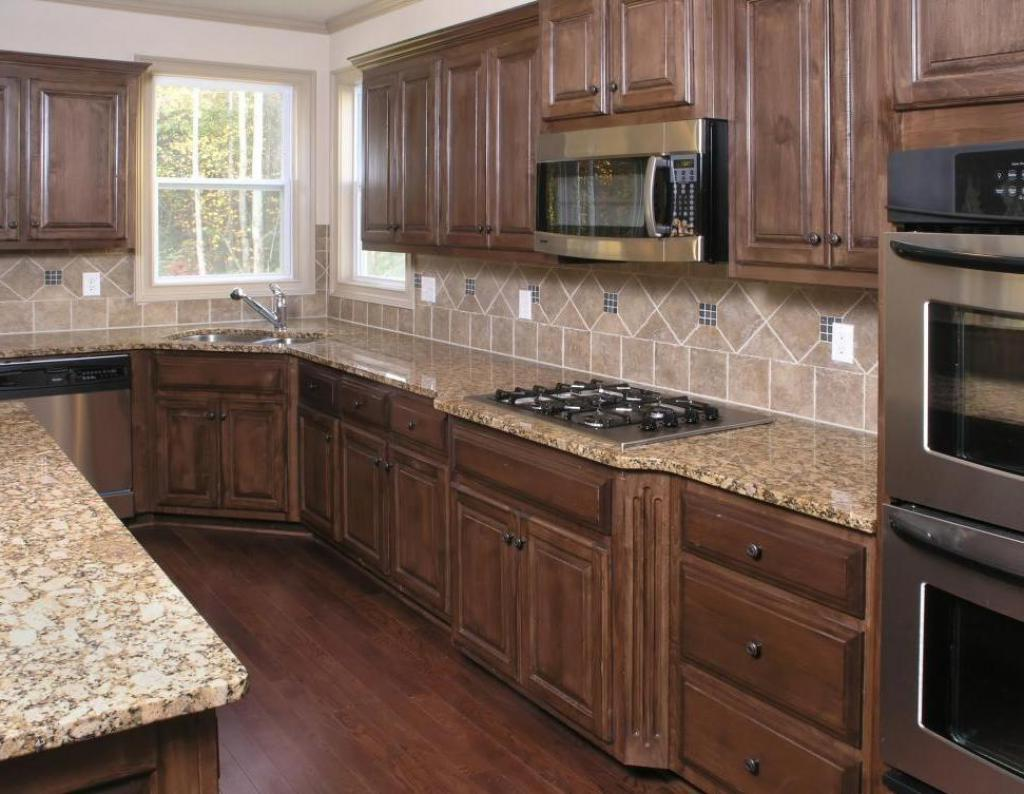 Awesome Ceramic Tile Backsplash Also Wooden Cabinet And Floor Design