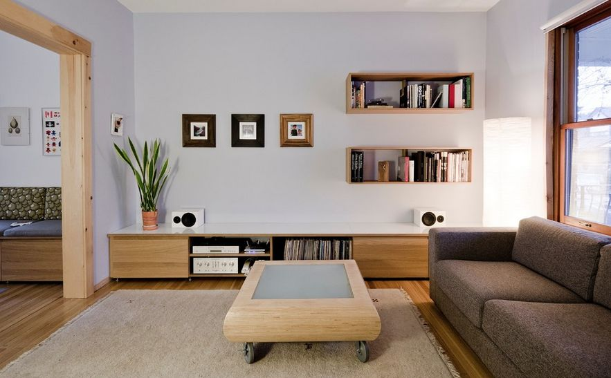 Best Living Room Design Using Sofa and Coffee Table Also Wall Mounted Shelf