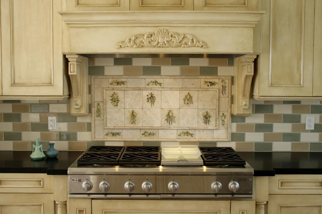 Captivatin Kitchen With Neat Wooden Cabinet Using Dark Top and Ceramic Tile Backspalsh